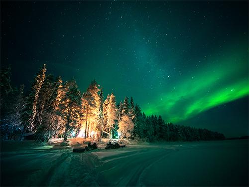 Nordlichter übern schneebedeckten Wald